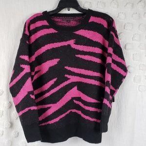 Lucca Couture Pink & Black Zibra Print Sweater XS